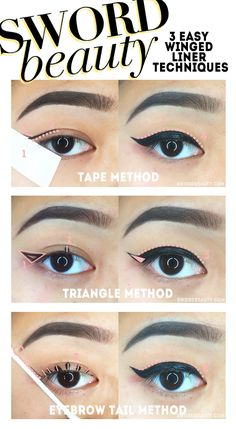 Perfect winged eyeliner! Use tape to guide your line and keep it ...