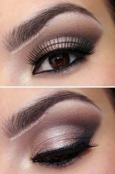 Wedding Ideas: Nice make-up for brown eyed girls.