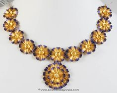 Gold Blue Themed Floral Necklace