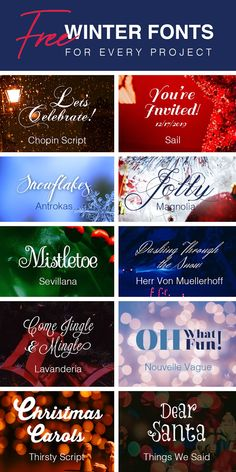 It's never too early to start working on your winter holidays projects from Christmas cards to holiday party invitations to winter ba. Free Fonts For Cricut, Cricut Fonts, Diy Projects Jars, Wood Projects, Fancy Fonts, All Fonts, Free Printable Monogram Letters, Winter Fonts, Diy Projects That Sell Well