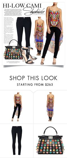 """""""Hi-Low Cami Top - Shahida Parides 1928"""" by boxthoughts ❤ liked on Polyvore featuring Frame Denim, Fendi, Gianvito Rossi and ShahidaParides"""