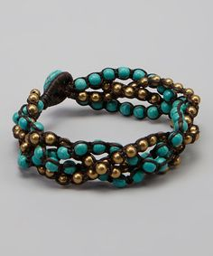 Take a look at this Turquoise & Gold Braided Bracelet by PANNEE JEWELRY on #zulily today! $14 !!