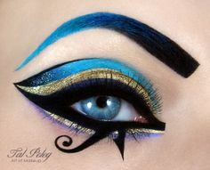 Modern editorial impression of historically inspired egyptian makeup and eye beauty