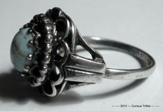 Sterling Silver Filigree Dome Ring with Quarts  by curioustrifles, $15.00
