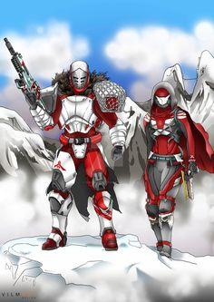 Destiny Destiny Titan and Hunter. Destiny Cosplay, Destiny Gif, Destiny Comic, Destiny Videos, Anime Couples Manga, Cute Anime Couples, Anime Girls, Female Armor, Pokemon