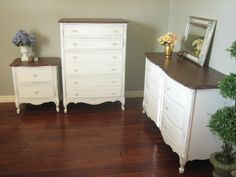 ~ European Paint Finishes: White Dresser Set ~ love the finished top with the painted bottom. Beautiful!