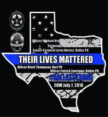 T-Shirt to Honor the Five Fallen Officers Killed in Dallas Protecting Their City and People