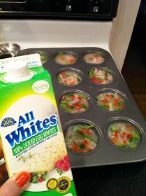 Egg white muffins~ These were SO good! I made mine with spinach, onion, yellow & orange bell peppers, a little bit of diced ham and low fat cheddar cheese. The hubby approved and I love the fact they last a week in the fridge and I can just pop them in the microwave. Make sure you spray the muffin tins really well. I had to soak the pan for days and it was still a pain to get it all out.