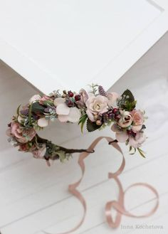 Dusty rose beige mauve flower crown Floral headband by ByKochetova