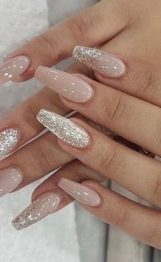 24 Cute and Awesome Acrylic Nails Design Ideas for 2019 - Page 2 of 24 - Nageldesign - Nail Art - Nagellack - Nail Polish - Nailart - Nails - Beauty Coffin Nails Matte, Best Acrylic Nails, Acrylic Nails Glitter, White Nails With Glitter, Acrylic Nails For Summer Coffin, Cuffin Nails, Pink Sparkle Nails, Nude Nails With Glitter, Gel Manicure