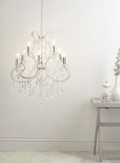 Bhs Wall Lights: Clear Kelsie Chandelier Light beading crystal glass chrome clear large  chandelier bedroom chandelier BHS,Lighting