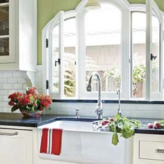 Who could object to doing dishes at this stunning  farmhouse sink with a view? | Photo: John Ellis | thisoldhouse.com