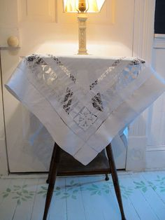 Saba Lace Linen Tablecloth, White on White Embroidery, Hand Made, Pulled Thread, Hem Stitched Edges