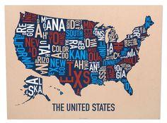United States Map 24 X 18 Multi Color Screenprint