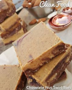 Clean Chocolate Nut Swirl Bars Recipes http://cleanfoodcrush.com/chocolate-nut-swirl-bars/