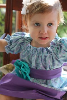 Girls Peasant Dress  Purple and Aqua Paisley  by MadilynnsBoutique, $35.00