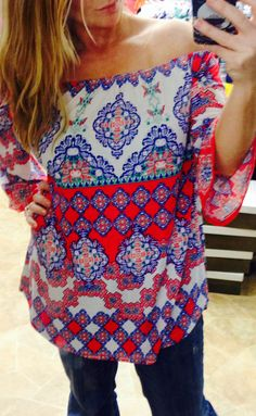 PAISLEY RED OFF-WHITE BLUE TUNIC BELL SLEEVE TOP SIZE S, M, L, 1XL, 2XL, 3XL #Honeyme #Tunic #Casual