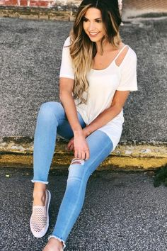 Cut It Out Top in Off White