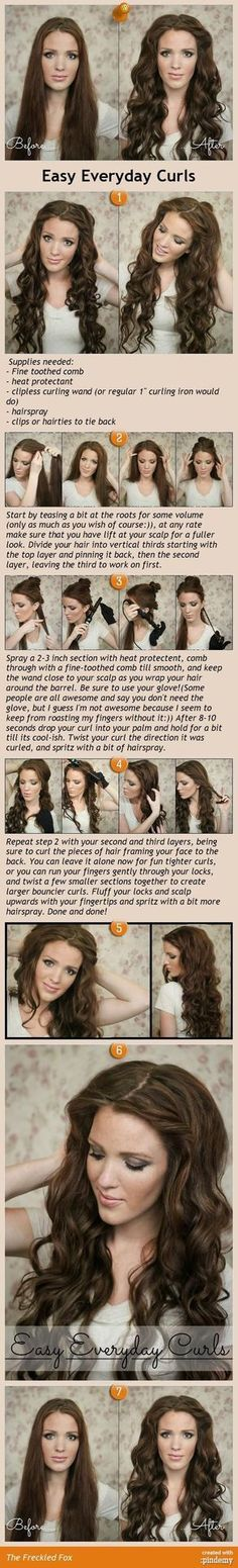 Easy Everyday Curls tutorial. I love this for my long hair. Need to try this!!