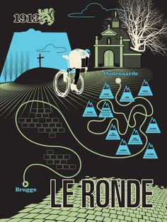 (since I'm watching it live right now...!) Ronde van Vlaanderen - Tour of Flanders. Poster (with all the climbs) designed by Ron Leland