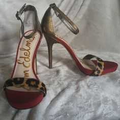 Sam Edelman high heels Give your look a serious fashion boost with this ankle strap bold red and brown / bronze metal accented with a cheetah print strap and a whopping 4 3/4 inch heel, it will defiantly have heads turning. Great condition worn once. Sam Edelman Shoes Heels