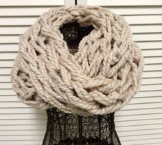 Off White Infinity Scarf Knit Infinity Scarf Knitted by KimLKrafts