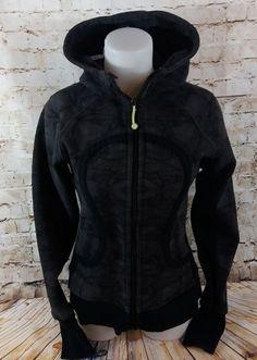 Lululemon Scuba Hoodie Sweatshirt Jacket SZ 8 RARE Black Gray PRINT Thumb Holes | Clothing, Shoes & Accessories, Women's Clothing, Sweats & Hoodies | eBay!