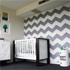 In the Ivans home in grey      Chevron removable wallpaper seen in apple green      Choose 2 colour for your stripes ($9.99 custom fee applies)      removable wallpaper - chevron  Price:  $149.95  Brand:  The Wall Decal Company