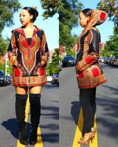 Hooded dashiki jacket by Tribal Groove. Available at zuvaa.com.