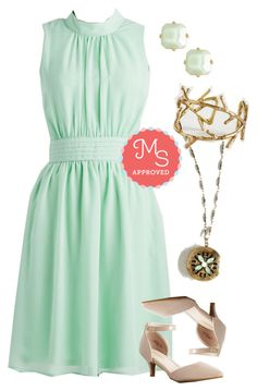 """Windy City Dress in Pistachio"" by modcloth ❤ liked on Polyvore featuring outfit, modcloth, bridesmaids and weddingwear"