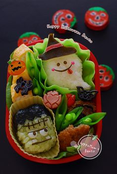 A Halloween Bento to whip up to get into the festive spirit. Lunch Box Bento, Vegan Lunch Box, Japanese Bento Box, Japanese Food Art, Kawaii Bento, Cute Bento, Bento Recipes, Bento Ideas, Lunchbox Ideas