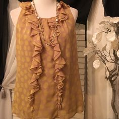 LOFT Top Amazing top , dressy and stylish , excellent condition, shell and lining are polyester, color is mustard and yellowish dots LOFT Tops Blouses