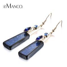 Stylish Blue Geometric Hook Earrings for Women Crystal Resin Dangle Drop Earring Jewelry Ladies & Girls Accessories