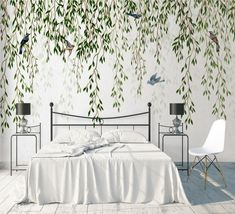 Make your home unique and stand-out with a variety of wallpaper and wall murals from Wallpaper Store. See our whole selection perfect for improving the environment of your bedroom, living room, kitchen, office, and more! Peel and Stick Wallpaper Mural Garden Leaves Birds Self Adhesive Wall Mural Palm Leaf Wallpaper, Wallpaper Decor, Custom Wallpaper, Bird Wallpaper Bedroom, Wallpaper Designs For Walls, Bird Bedroom, Wallpaper Living Rooms, Wallpaper For House, Dragonfly Wallpaper
