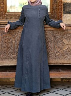 Omera Dress- from SHUKR Islamic Clothing. Long dress with buttons Hijab Outfit, Hijab Style Dress, Abaya Designs, Abaya Fashion, Women's Fashion Dresses, Muslim Long Dress, Abaya Mode, Moslem Fashion, Hijab Stile