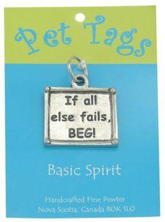 'beg' pewter dog tag