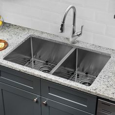 """Cahaba Gauge Stainless Steel Handmade 32"""" x 19"""" Double Basin Undermount Kitchen Sink with Faucet and Soap Dispenser"""