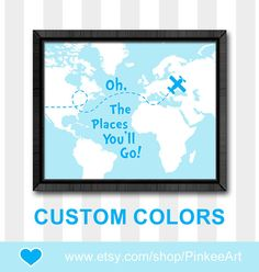 blue oh the place you'll go map dr seuss nursery decor baby boys room map theme nursery boy nursery art boy wall decor kids room decor by PinkeeArt, $11.00