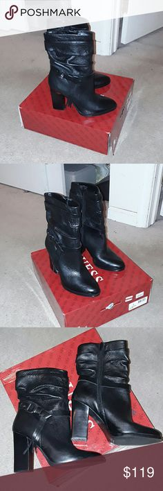"""Guess Tamsin Black Leather Boots Guess Tamsin Black Leather Boots Sz 9.5 M Scrunched Construction Wrap around buckle with fringe Stacked 4"""" heel Almond Toe NIB! Guess Shoes Ankle Boots & Booties"""