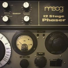 Nice knobs. From our studio shelves: Moog 12 Stage Rack Phaser and Valve Oscillator from EMI Barcelona (as found in the BBC Radiophonic Workshop).