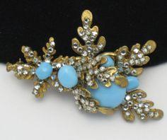 MIRIAM HASKELL Vintage Rhinestone Turquoise Cabochon Brooch Pin