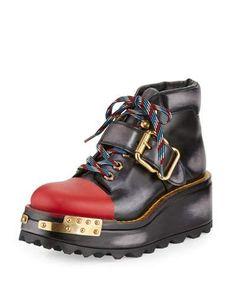 X3B2M Prada Buckle Leather 60mm Hiking Boot, Black/Scarlet (Nero/Scarlatto)
