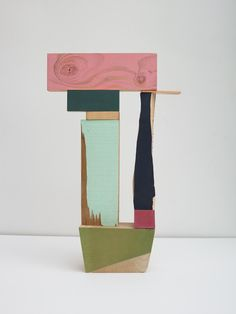 Jim Osman, Pink Lintel, 2014, wood, paint, paper, 19 x12 x 3.5 inches (Front)