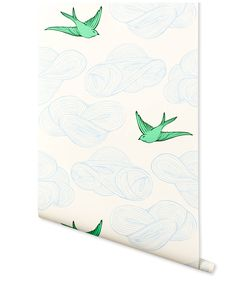 Daydream (Green) wallpaper featuring flying birds and floating clouds was designed by Julia Rothman for Hygge & West. Perfect for kids rooms and adult spaces alike. Our modern, high quality wallpapers are screen printed by hand in the USA. Bathroom Wallpaper Birds, Green Wallpaper, Modern Wallpaper, Pattern Wallpaper, Accent Wallpaper, Bird Wallpaper, Wallpaper Ideas, Project Nursery, Nursery Decor