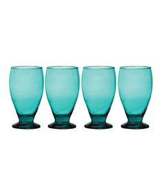 Aqua Uptown Goblet - Set of Four #zulily #zulilyfinds