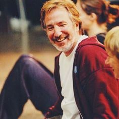 """""""He was, above all things, a rare and unique human being and we shall not see his like again"""" — Emma Thompson on Alan Rickman / photo is from a 1998 rehearsal of Antony and Cleopatra with Helen Mirren."""