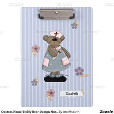 Funny Teddy Bear design Happy Nurses Week / Happy Nurses Day / Thank You Nurse / Nurse's Birthday / Graduation from Nursing School / Any occasion Gift Clipboard for nurses with customizable name. Matching cards in various languages, postage stamps and other products available in the Business Related Holidays / Healthcare Category of the artofmairin store at zazzle.com