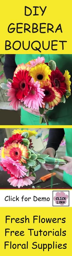 How to Make a Gerbera Daisy Hand Tied Bouquet - Demo by professional florist on making a hand tied bouquet with daisies.  Buy wholesale flowers and professional florist supplies for your DIY wedding.