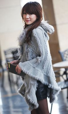 Women Knit Rabbit Fur Poncho Raccoon Collar Cape Stole Wrap Hooded Sweater