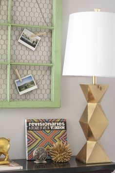 Ripley Gold Table Lamp from Lamps Plus. I like the framed chicken wire for notes and photos